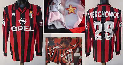 Maglia Ac Milan Match Worn/issued Shirt Serie A 1996/97-  Vierchowod Signed