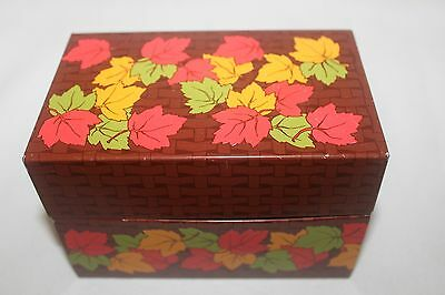 Vintage Tin Litho Metal Recipe Box Syndicate Mfg Co Autumn Fall Leaves R2
