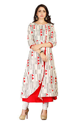 White Red Color Long Straight Designer Women Wear Latest Kurti Collection-AF01