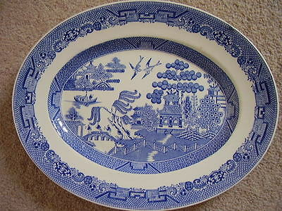 Staffordshire England blue and white porcelain big oval dish-plate,willow