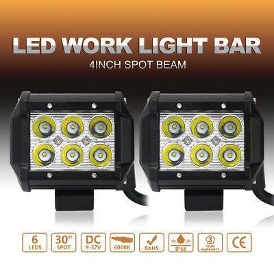"""Pair 4"""" LED Work Lights Bar Driving Spot beam Jeep Offroad 4X4 UTE 12V 24V HID"""