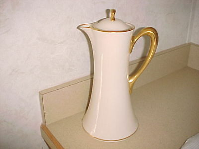 """Lenox """"The Vondel"""" Tall Chocolate Coffee Pot- Ivory & Gold, Green Stamp"""