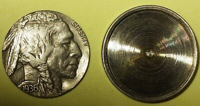 Novelty 1936 Buffalo Nickel Cut Opened & Hollowed Out with Penny Inside