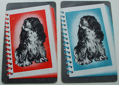 2 Single Vintage Swap Playing Cards Very Cute Spaniels In Photo Album Dogs