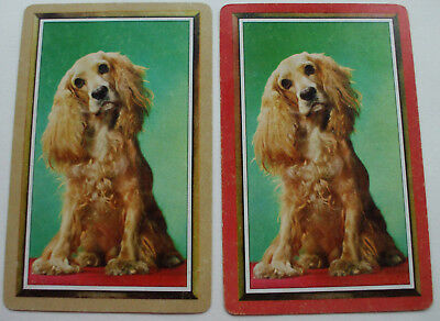 2 Vintage Swap Playing Cards/blank backs Pretty Posing Pups Pair Dogs Spaniels