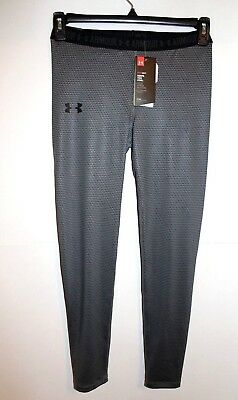 Nwt Under Armour Girl's Running Training Fitted Print Leggings Black Grey L $40
