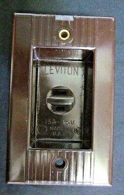 Vintage Leviton Brown Bakelite Art Deco Ribbed Lines Recessed Clock Outlet 15A