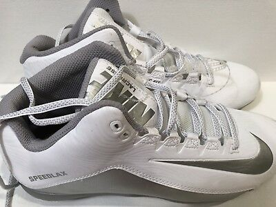Nike Mens Speedlax 5 Lacrosse Cleats White / Silver, Sz 9.5, 807143-100