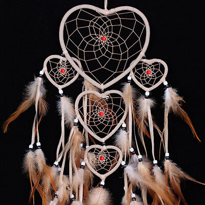 LargeBrown Dream Catcher Wall Hanging Decoration Ornament Handmade Feather Craft