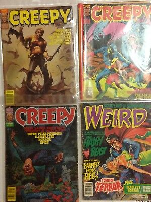 WEIRD AND CREEPY MAGAZINES  LOT OF 4 Vintage 1970s-1980 HORROR COMICS