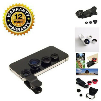 Clip on Fish Eye 3 in 1 Wide Angle Universal Macro Mobile Phone Camera Lens Set