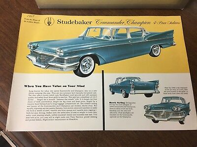 Original 1958 Studebaker Commander, Champion 4 Door Sedan Spec Sheet