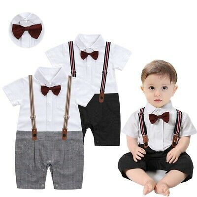Baby Boy Toddler Bow Tie Short Sleeve Gentleman Bodysuit Outfit Christening