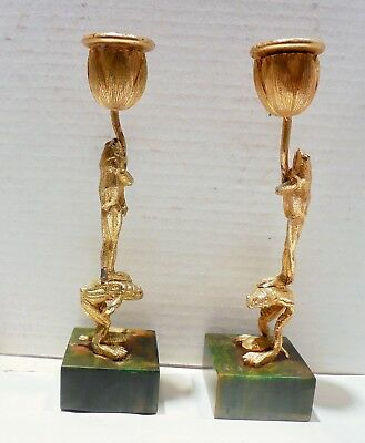 Frog Candlesticks Gold Gilt Whimsical Antique 7 1/2 Inches 19Th Century