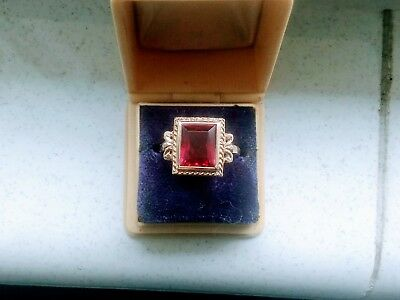 Stunning Vintage Emerald Cut Ruby and Gold Ring From British Estate Auction