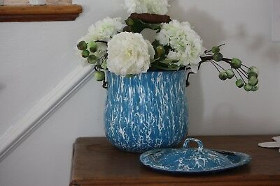 Antique Enamelware GRANITEWARE BLUE AND WHITE Swirl Bucket/Pot  WITH LID