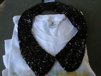 Natasha Black Sequin  Neck Collar To Add To Any Shirt To Glam It Up Nwt