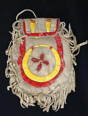"""1890's Sioux Indian Quilled On Hide Pouch With Fringe 7.5"""" by 6"""""""