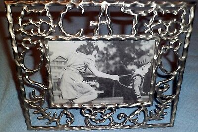 """Cat, Mouse, Fishbone Pewter Picture Frame Kitty Cats Kitten 4"""" x 6"""" """"Used"""" 🐈🐾"""
