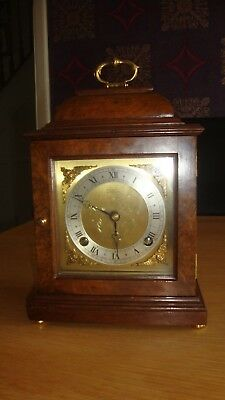 RARE VINTAGE  ELLIOTT OF LONDON Burr Walnut 8 day Chiming Bracket Mantel Clock