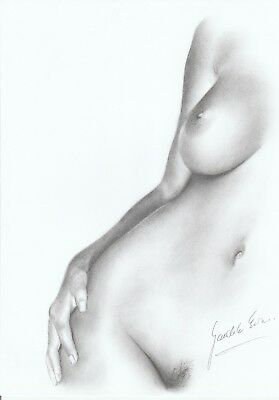 Original Pencil, Nude Pin Up Art, By Ewa Gwalic