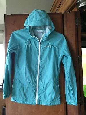 Columbia Girl's size large14/16 Zip Up Rain Soft Shell Jacket Hooded