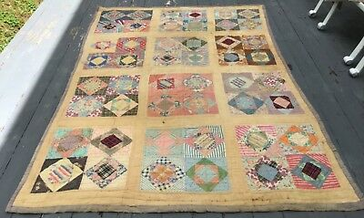 Lovely Vintage Quilt -Square In A Square~Patch Diamond Pure Cotton 1930's