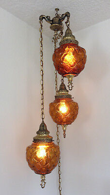 """Vintage- Three """"GIM 1095"""" Amber Swag Hanging Lamps W/ Diffusers- Plug In"""
