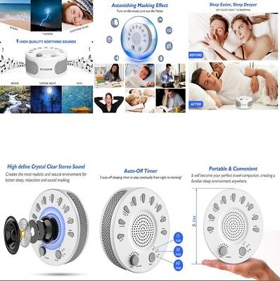 White Noise Sound Therapy Machine for Baby Sleep 9 Natural Smoothing USB Relax