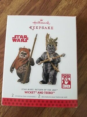 2013 Hallmark Keepsake Star Wars Wicket and Teebo Ornaments New ewok