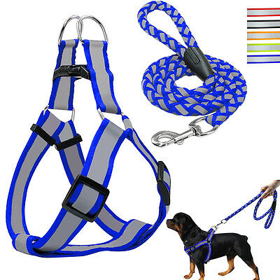 Reflective Dog Harness Step-in Nylon Dog harness with leash Set XS S M L Safety