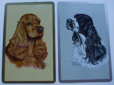 2 Vintage Swap Playing Cards Beautiful Spaniel Dogs Silver Gold Borders Art Cook