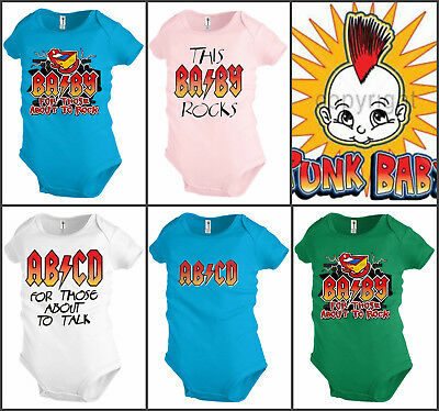 Big Brother Rock Little Brother Roll Novelty Punk Funny Baby Toddler Bodysuit