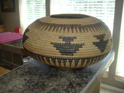 "Native American Woven Basket Pomo Tribe 47"" Round Form Tribal"