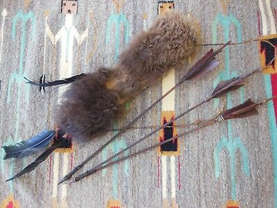 Handcrafted *Buffalo ** Bison* Pelt Quiver with Handmade Arrows and Arrowheads