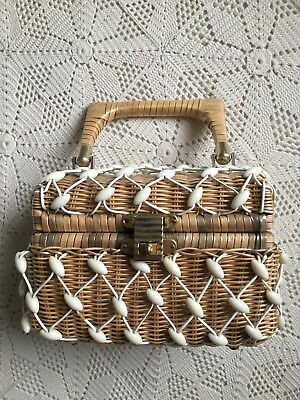 Funky Vintage Mid Century Woven Handbag with White Beads Rockabilly Pinup Summer