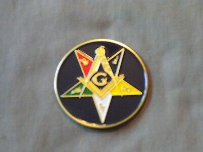 "Masonic 3"" Car Emblem Order Eastern Star OES Square Compass Metal NEW!"