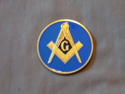 "Masonic 3"" Car Emblem Master Mason Square Compass Blue Metal Fraternity NEW!"