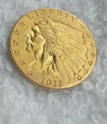 1911 $2.50 Gold Indian Head Uncirculated Quarter Eagle US Coin  #52618-2