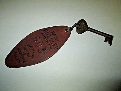 Rare Vintage Brass Skeleton Key w/ Leather Hotel Holland Duluth Minnesota Tag