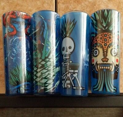 New Complete set x4 Brand Milagro tequila tall shooter shot glass blue