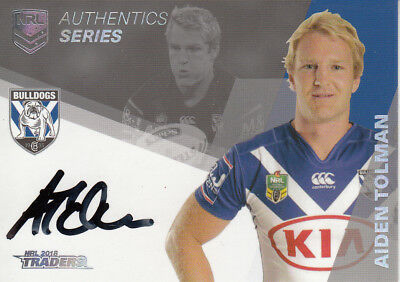 2018 Nrl Traders Authentics Signature  As3 Aiden Tolman Canterbury Bulldogs #040