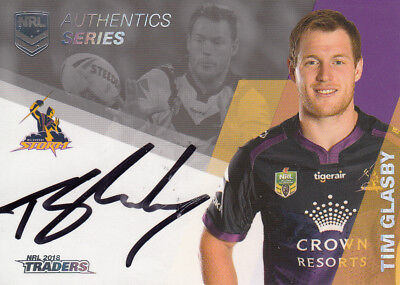 2018 Nrl Traders Authentics Signature  As7 Tim Glasby Melbourne Storm #011 / 100