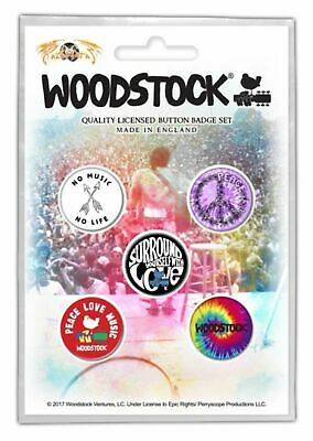 Woodstock - 5 x 2.5cm Button Set - Love, Peace, Incense and Heavy, Heavy Music D