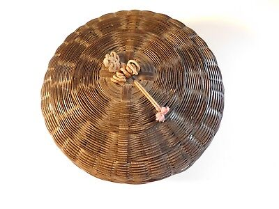 Vintage Antique Small Chinese Round Wicker Sewing Basket w/Lid - FREE SHIPPING