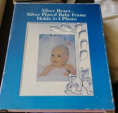 Silver Bears Silver Plated Baby Frame Holds 3x5 Photo Style No. 1009