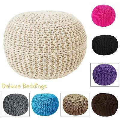 Luxury New 50CM Moroccan Cotton Knitted Pouffe Stool Foot Cushion Living-Bedroom