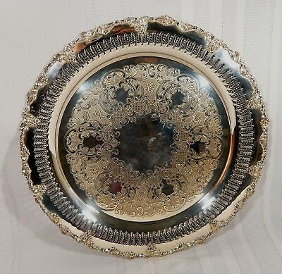 "Silverplate 13"" Round Pierced Liquor Serving Tray GRAPE & VINE Benedict Proctor"