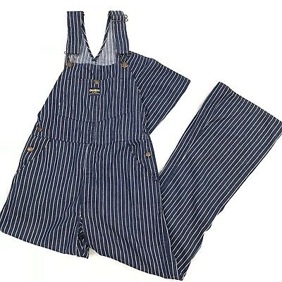 Vtg RARE Osh Kosh Small Vestback Overalls Women Blue Railroad Stripe Flare 70s