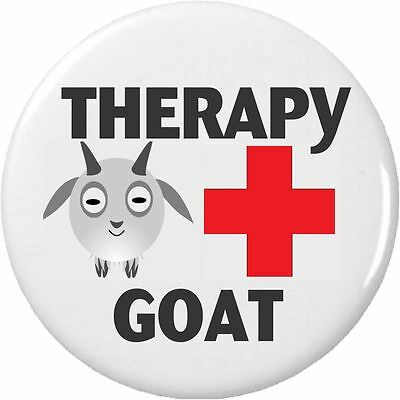 "Therapy Goat (Red Cross) 2.25"" Large Button Pin Service Animal Disability"